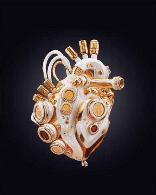Clean golden heart on dark background