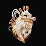 Clean golden heart on dark background, 3d rendering with alpha