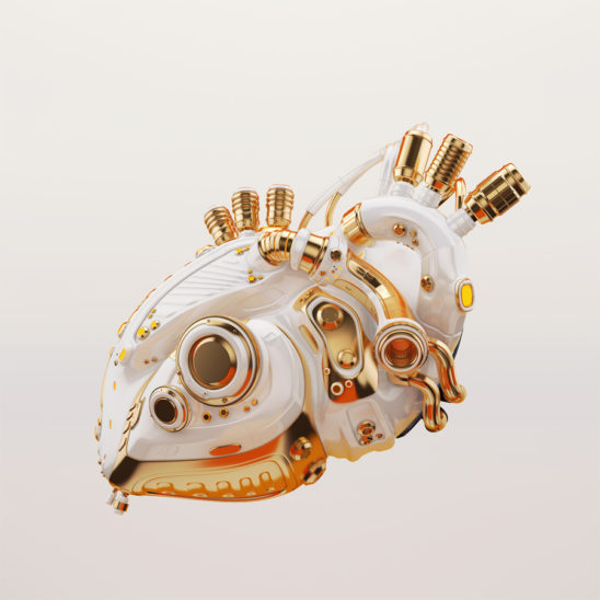 White heart with luxury golden parts 3d rendering with alpha