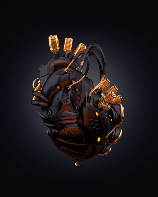 Matte black heart with golden parts 3d rendering with alpha