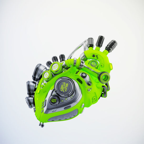 Eco green robotic heart 3d rendering with alpha