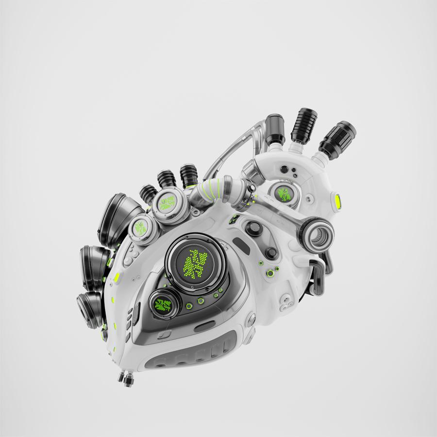 White robotic heart
