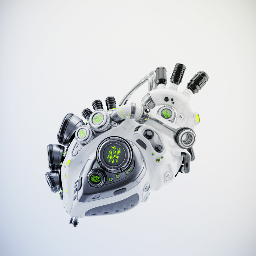 White sci-fi robotic heart 3d rendering with alpha