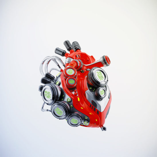 Red sci-fi robotic heart 3d rendering with alpha