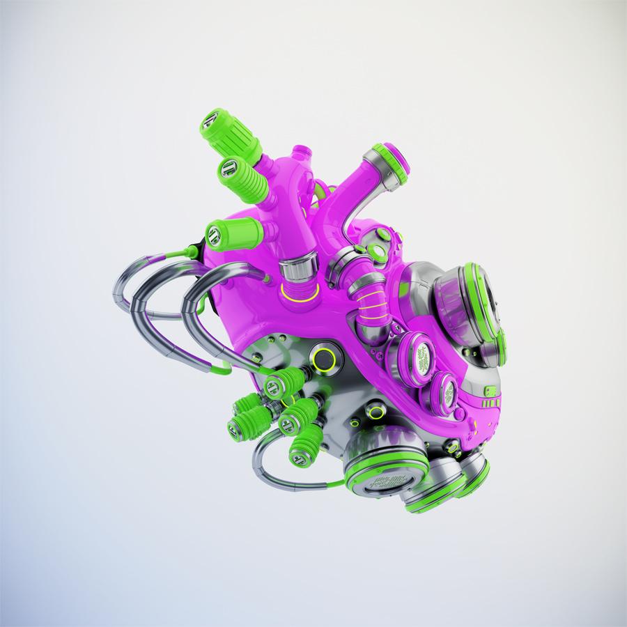 Crazy violet-green sci-fi robotic heart 3d rendering with alpha