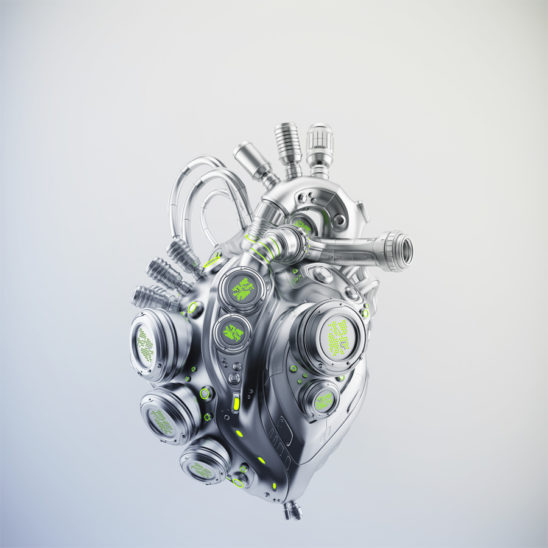 Silver robotic heart 3d rendering with alpha