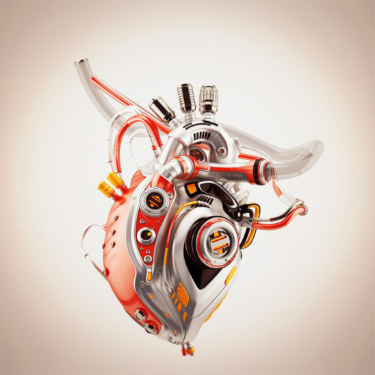 Vintage robotic heart 3d rendering with alpha