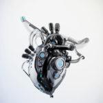 Dark sci-fi heart 3d rendering with alpha