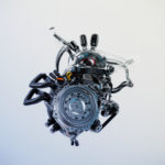 Mechanical heart, artificial robotic motor. 3d rendering with alpha