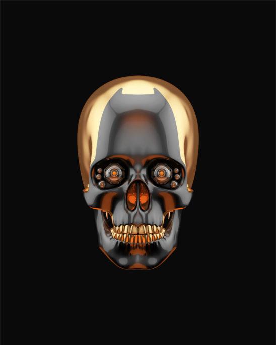 Sci-fi golden skull