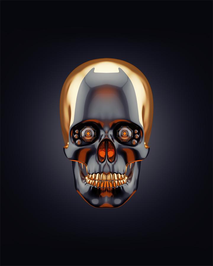 Sci-fi golden skull 3d rendering with alpha