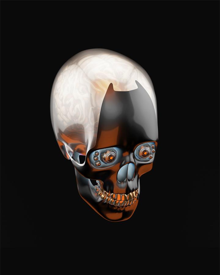 Robotic skull in side angle
