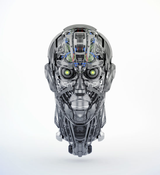 Steel mecha robotic man's head 3d rendering with alpha