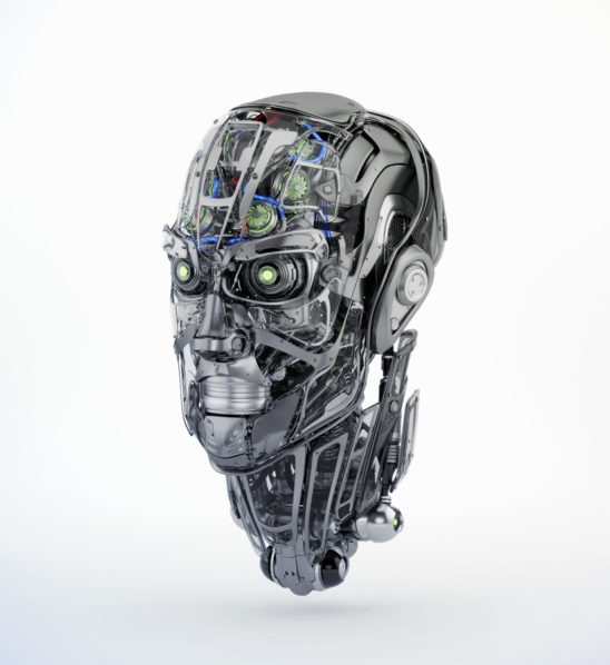 Steel mecha robotic man's head in semi-side angle. 3d rendering with alpha