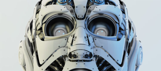 White robotic face mask, 3d rendering with alpha