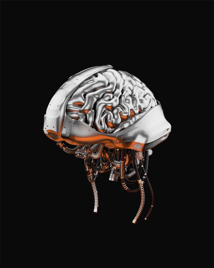 Steel artificial brain, 3d rendering with alpha
