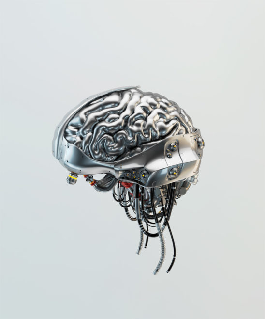 Cyber brain with red accent elements