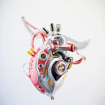 Classic robotic heart 3d rendering with alpha