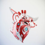 Red-white robotic heart 3d rendering with alpha