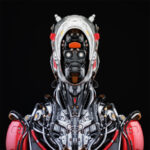 Stylish cyborg bust in front II