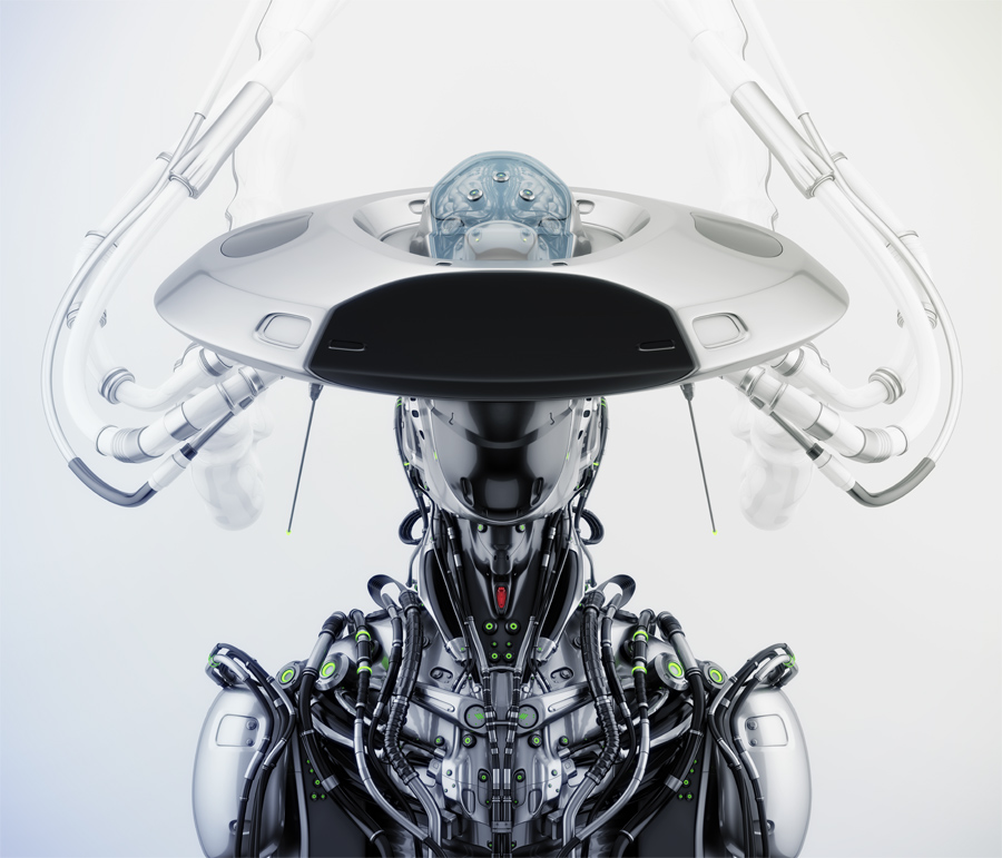 Smart connected cyborg in hat