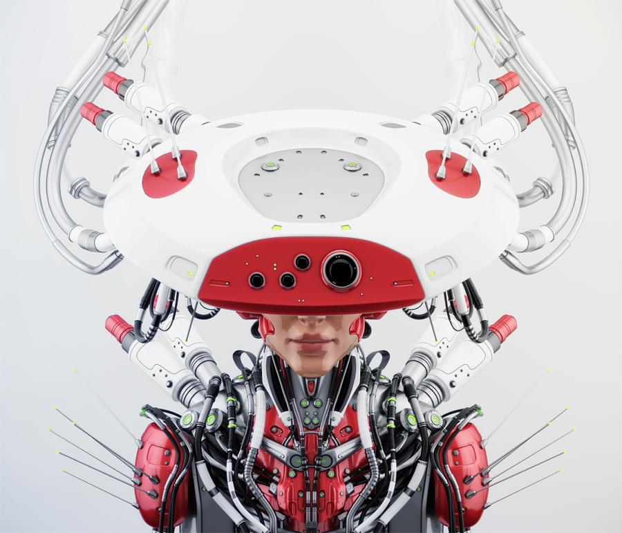 Smart red robotic woman in hat upper view