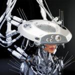 Smart robot girl in hat
