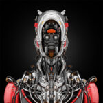 Stylish cyborg bust in front