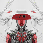 Smart red connected cyborg in hat