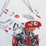 Smart red connected cyborg in hat side