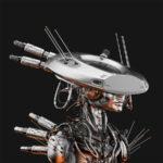 Smart steel cyborg in sci-fi flat hat