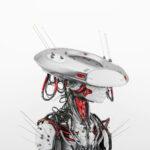 Smart silver red cyborg in sci-fi flat hat