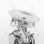 Smart white cyborg in sci-fi flat hat
