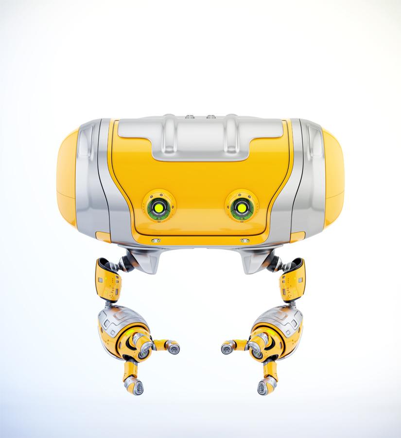 Aerial orange Cheburashka robot