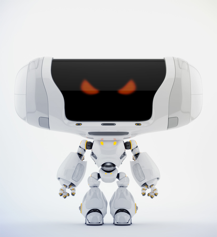 Angry white Cheburashka robot