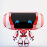 Cute red-white Cheburashka robot
