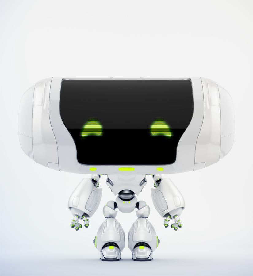 Cute white Cheburashka robot