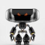Angry Cheburashka robot with transparent bust