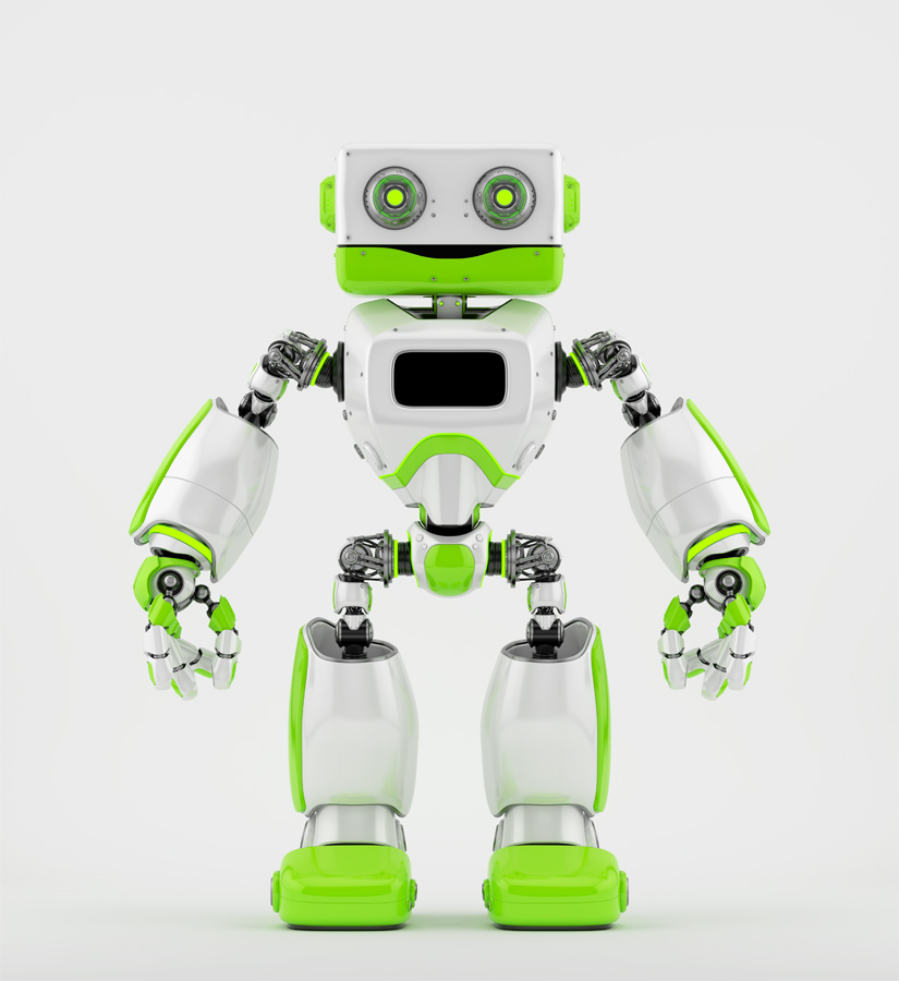 Green old-styled robot