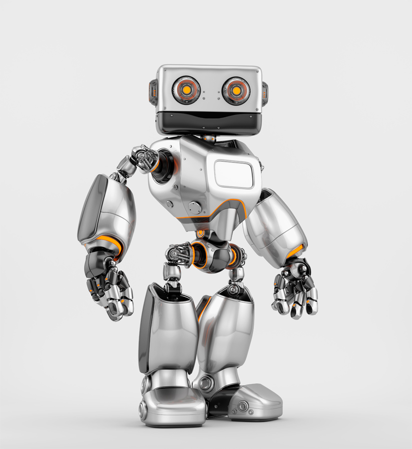 Silver old-styled brave robot