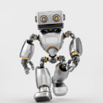 Silver old-styled brave robot toy walking forward