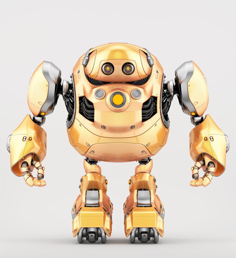 Orange cyber turtle bot in front