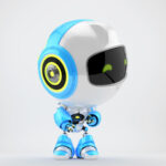 White-blue little robotic toy Robert looks over shyly