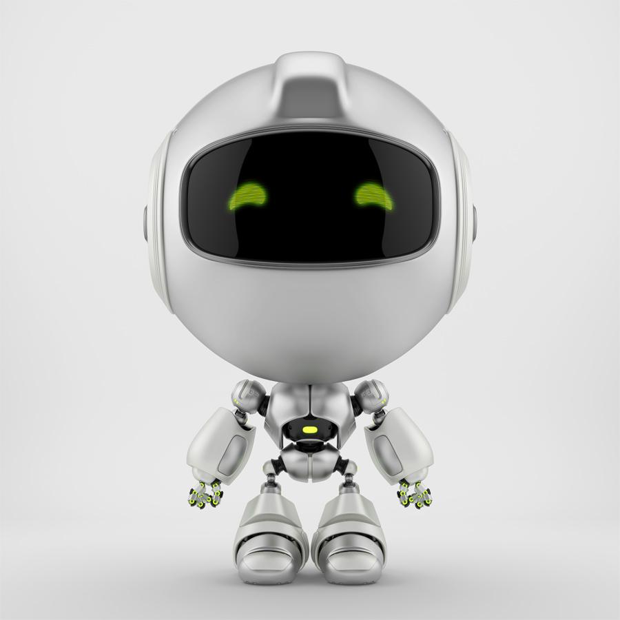 Silver matte PR robot in front