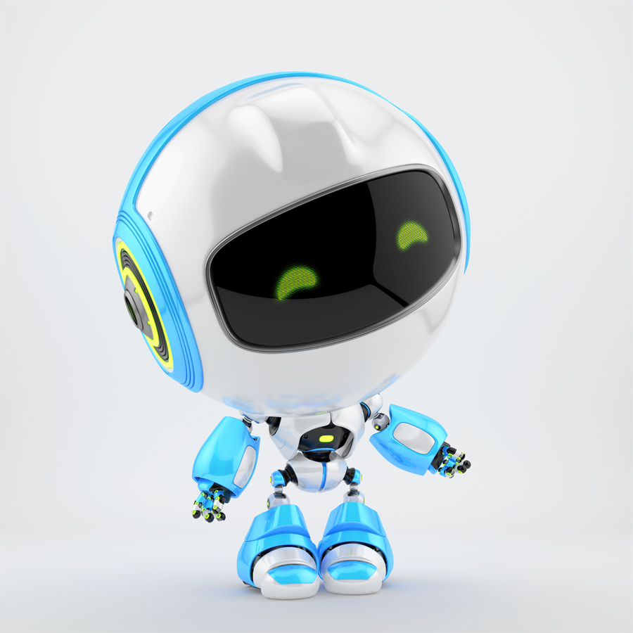 White-blue PR robot gesturing