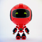 Red PR robot in front