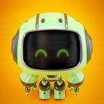 Cute green bot in upper view