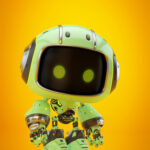 Cute green bot in side angle IV