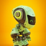 Green android robot toy MOCCO in side angle