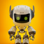 White android robot toy MOCCO on colorful back with funny ears